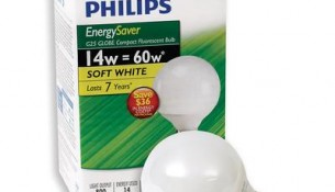 PHILIPS Energy Saver 14 Watt Vanity Globe Soft White G25