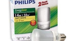PHILIPS  14 Watt R20 Energy Saver Reflector Soft White Flood – 2 Pack