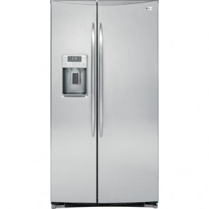 GE PROFILE  GE Profile 25.9 Cu. Feet. Energy Star Side-by-Side Refrigerator with Trimless Dispenser and ALL-LED lighting
