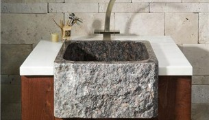 Sinks Gallery – Tan Brown Granite Farm sink Style Bar Sink Model: SG-BPF19SB-BE